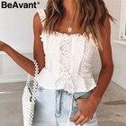 BeAvant Vintage white camisole tank top women 2019 Summer style cotton cami top female Lace-up ruffle strap short peplum shirt