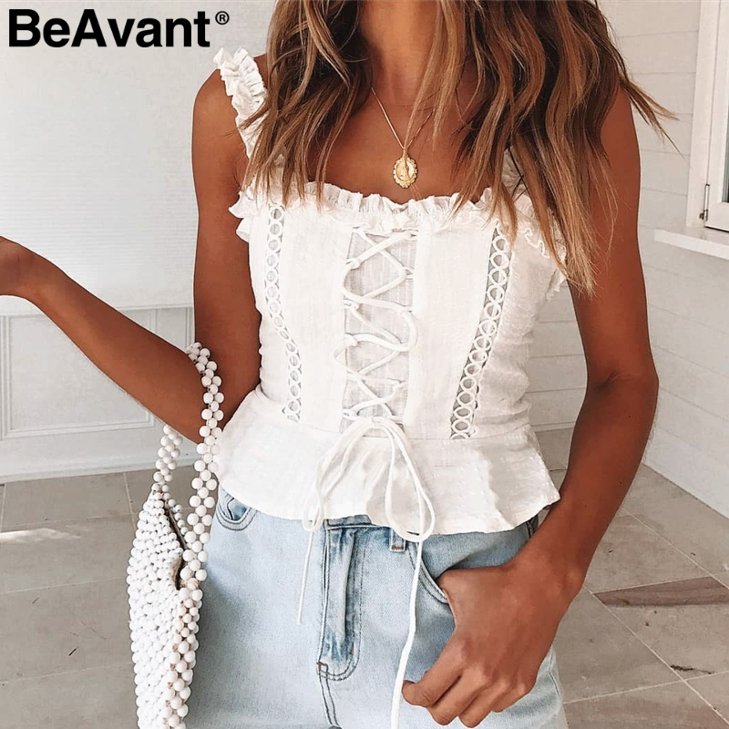 BeAvant Vintage lace up cami white blouse women Sleeveless cotton camisole   tank     top   Female ruffle strap summer peplum   tops   2019