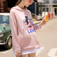 Autumn Pregnant Hoddies Women Casual Plus Size Long Sleeve Pullover With Hat O Neck Hooded Sweatshirt Fashion Dress Tops
