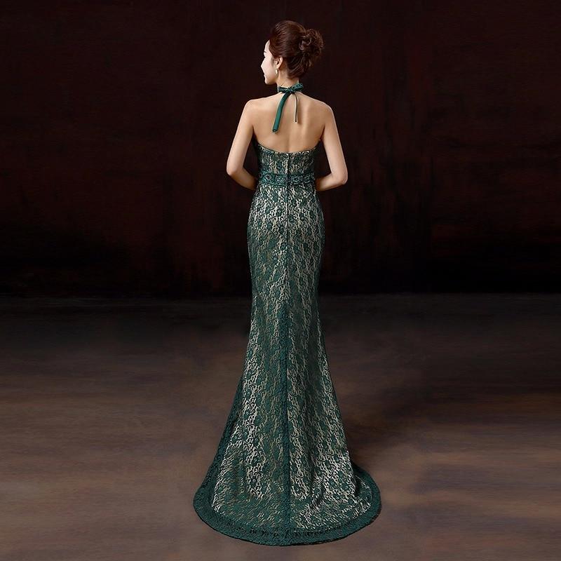 Mørkegrønn sexy stroppeløs halter rhinestone tail blonder silm - Nasjonale klær - Bilde 2