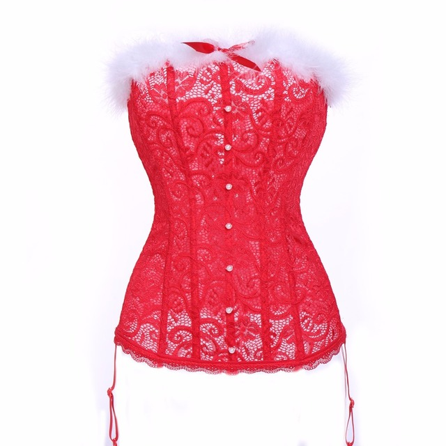 5ae16e7d321 Women Sexy Red Christmas Santa Costume Holiday Bustier Corset Lingerie  Overbust Corsets and Bustiers Tops With Hat Xmas Set