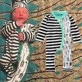 Subida del bebé Siamés ropa otoño invierno ropa de bebé de algodón Raya flecha patrón ropa unisex mameluco del bebé divertido bebé mameluco