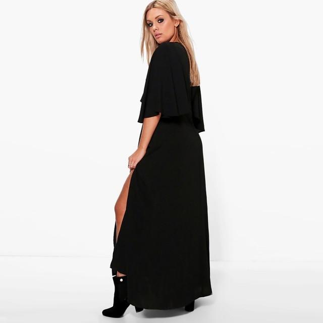 Kissmilk Casual Solid Embroidery Sexy Deep V-Neck Ankle-Length Side Split Plus Size Dress 4XL 5XL 6XL
