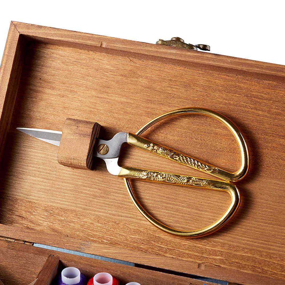 Многофункциональный классический деревянный швейный комплект игл нитка, иголка нитки ножницы Органайзер емкость для лекарств Органайзер коробка для хранения