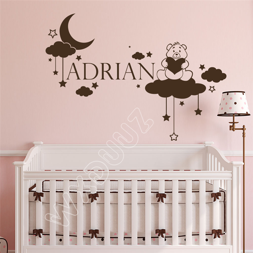 WXDUUZ Personalized Custom Name Wall Decal Fairy Teddy Bear Clouds Stickers Decor Home Decor Wall Sticker B137
