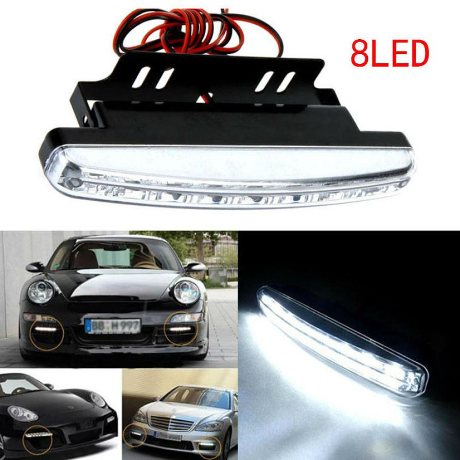 2018 New Hot 1PC 6000K Car Led Daytime Driving Running Light 8LED DRL Car Fog Lamp Waterproof White Light DC 12V APR25 2017 2pcs new high quality 6 led daytime driving running light drl car fog lamp waterproof white dc 12v hot sale