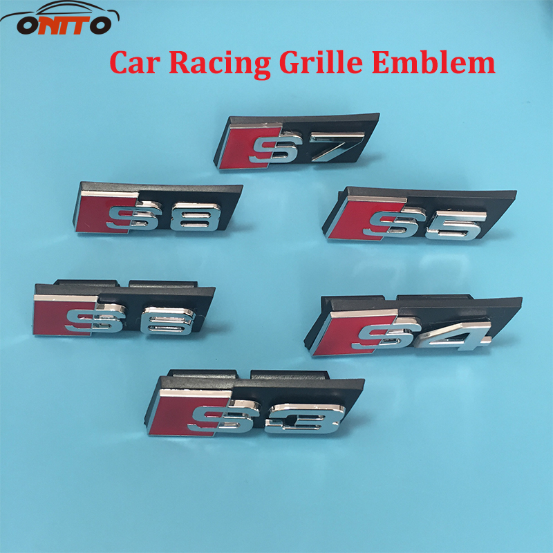 1pcs ABS S3 S4 S5 S6 S7 S8 Racing Rally Front Hood Grille Badge Emblem for audi S3 S4 S5 S6 S7 S8 Car styling 1pcs 3d metal s5 car front grille adhesive emblem badge stickers accessories styling for audi a5 s5