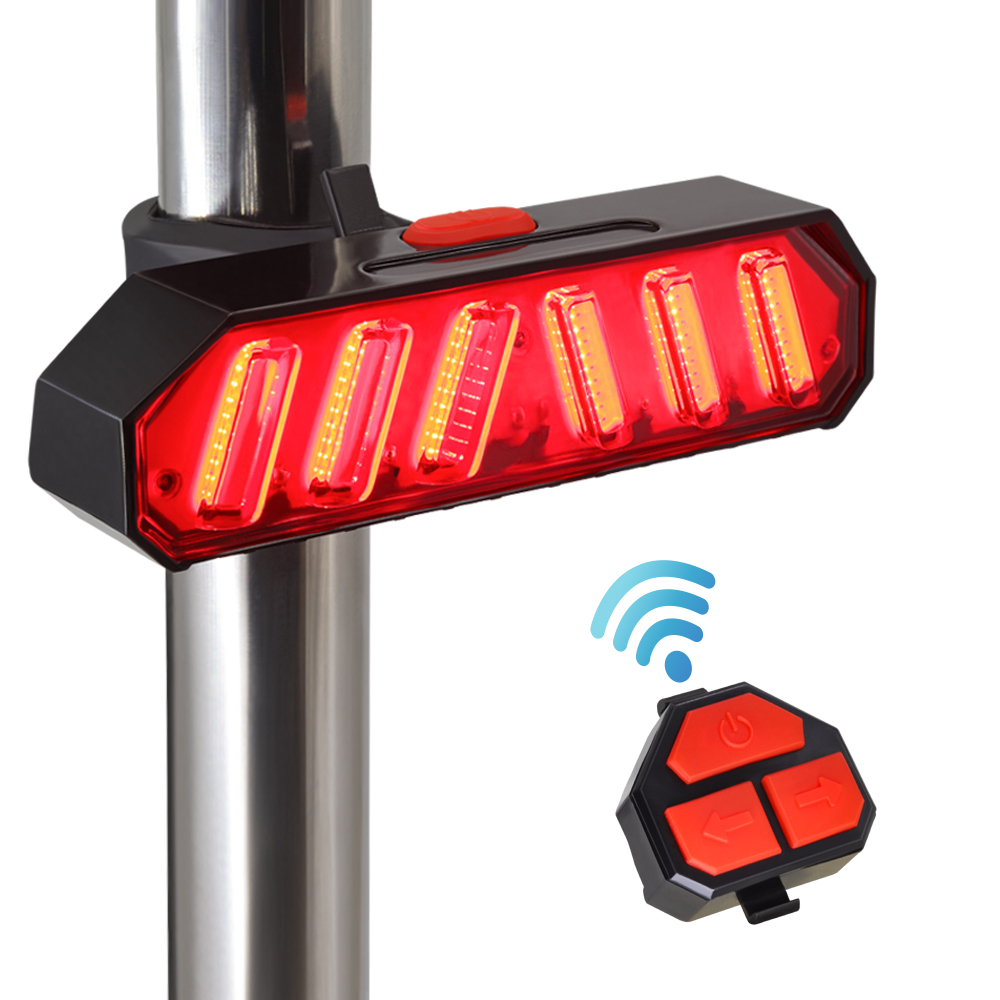 Smart Remote Control Turn Signal Bike Rear Light USB Bicycle Taillight Wireless LED Bike Tail Light Also For Electric Scooters
