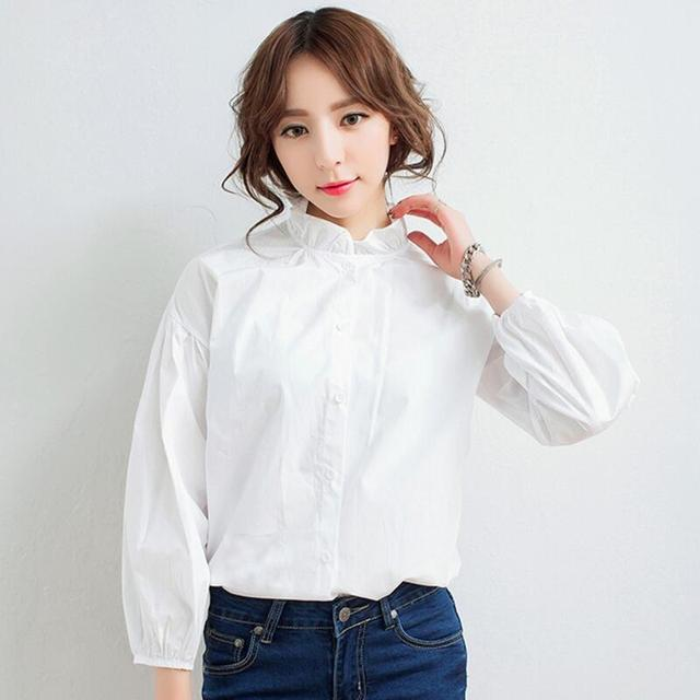 188fa8b33f70 Fashion Large size Fungus Stand Collar Shirt Women Brand Sweet Ruffles Cotton  Tops Female Vintage Lantern Sleeve White Blouse