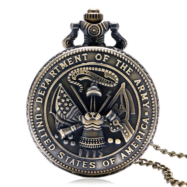 Hot Sale Bronze United States Department of The Army Theme Quartz Pocket Watch W