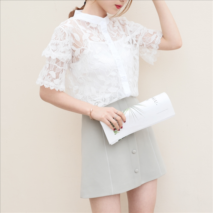 2018 New Women Summer Stand Short O-Neckr Lace Chiffon Bare Shoulder Purity Elegant Fashion Sexy Night Club Party Short Sleeve