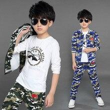 Осень большой мальчик камуфляж костюм для детей три набора 2016 новых осенью спортивная одежда производителей от имени