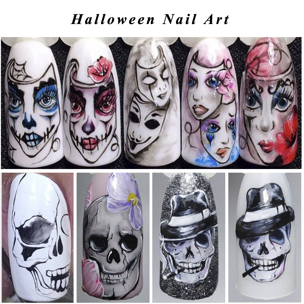 Image 2 - 25pcs Nail Stickers Halloween Sets Skull Bone DIY Slider Nail Art Water Decals Manicure Decoration Wraps Nail Foils CHSTZ731 755-in Stickers & Decals from Beauty & Health