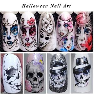 Image 2 - 25pcs Nail Stickers Halloween Sets Skull Bone DIY Slider Nail Art Water Decals Manicure Decoration Wraps Nail Foils CHSTZ731 755