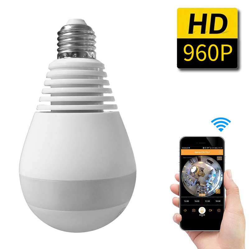 360 Degree FishEye Panoramic Wifi Camera Light Bulb Mini CCTV Camera 1.3MP Home Security 960P Wireless IP Camera ...