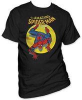 มหัศจรรย์การ์ตูนชุดผู้ชายเสื้อยืดThe A Mazing S Pidermanสปอตไลกราฟิกพิมพ์สีดำยอดTee
