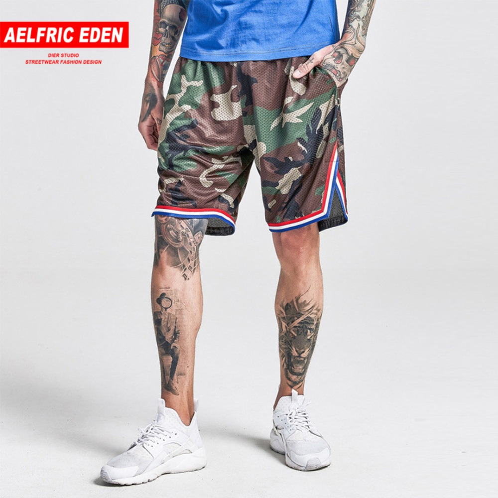 Aelfric Eden Streetwear Hip Hop Casual Shorts Men Camouflage Color Block Military Workout Short Jogger Male Beach Shorts F480
