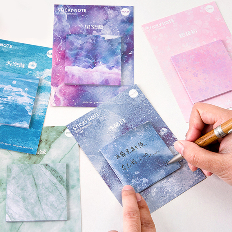6 pcs Nature color sticky notes Decorative memo pad Sakura pink Starry blue Stone grey sticker Office School supplies A6671