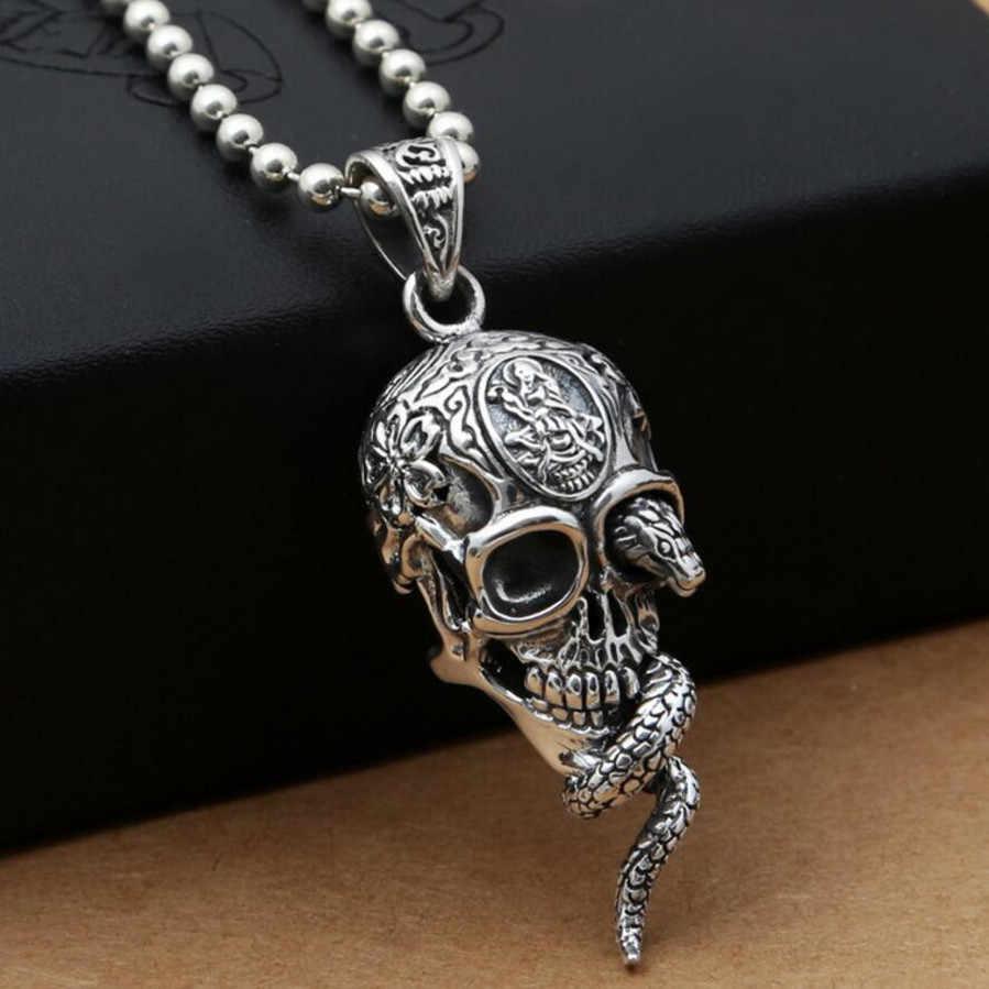 Hiphop Punk Rock Cobra Skull Pendant 100 Real 925 sterling silver for women men Necklace Pendant.jpg q50