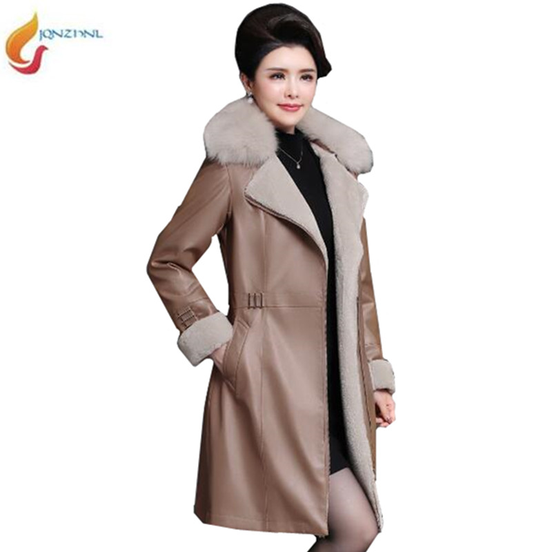 JQNZHNL Winter Coat Women Loose Leather Warm Overcoat High end Middle aged Women Fashion Basic Leather