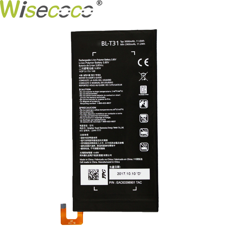 Wisecoco New Original 3000/3550mAh BL-T31 Battery For LG G PAD F2 8.0 LK460 SPRINT Phone Replacement High Quality + Track Code image