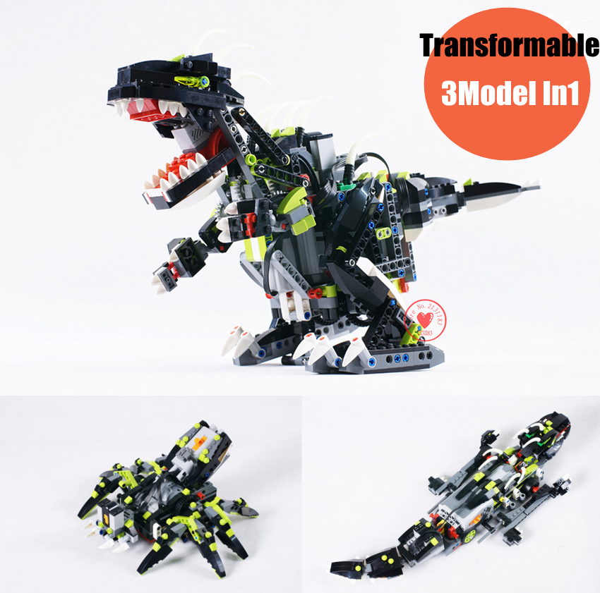 цена на New 3in1 Jurassic Dinosaur RC Sound Function fit legoings Technic education model building blocks Bricks toys gift kid toys 4958