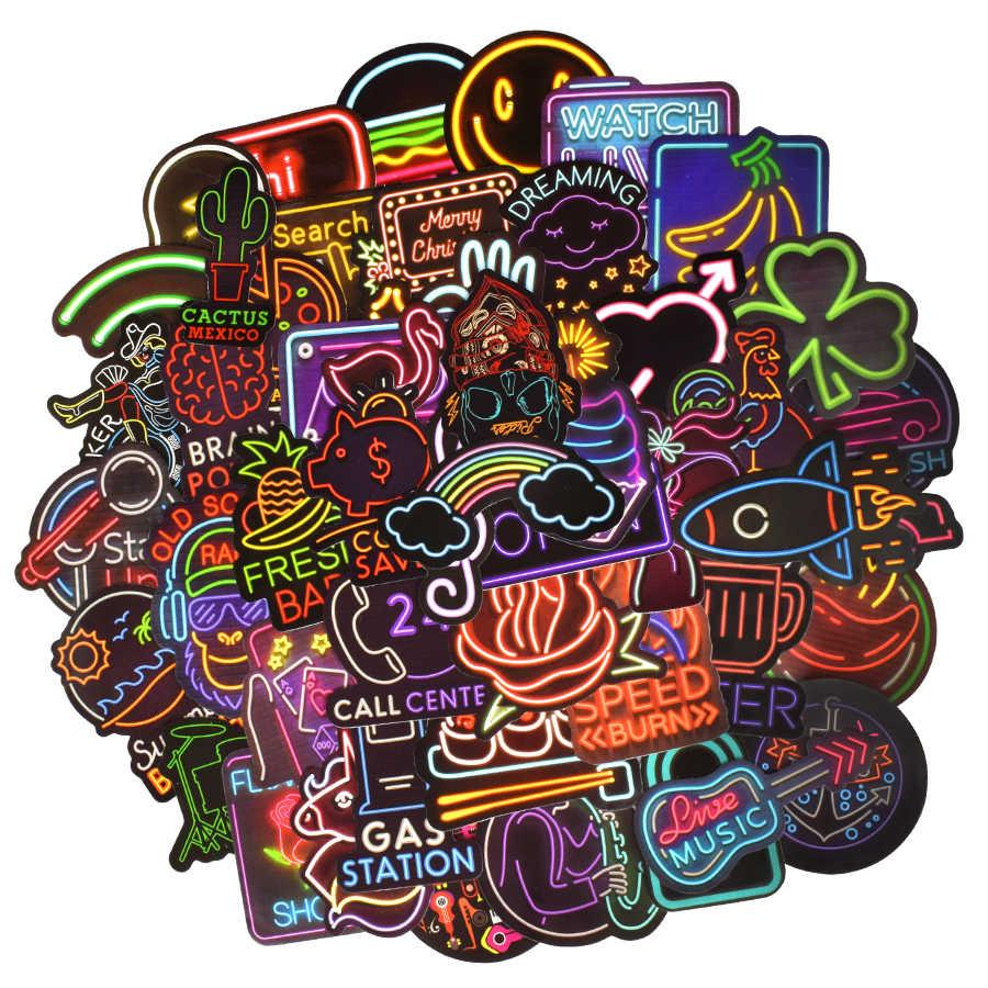 Retro Sticker Graffiti Kartun Unicorn Neon Anime Stiker untuk Anak-anak DIY Laptop Mobil Moto Papan Luncur Bagasi Stiker Klasik Mainan