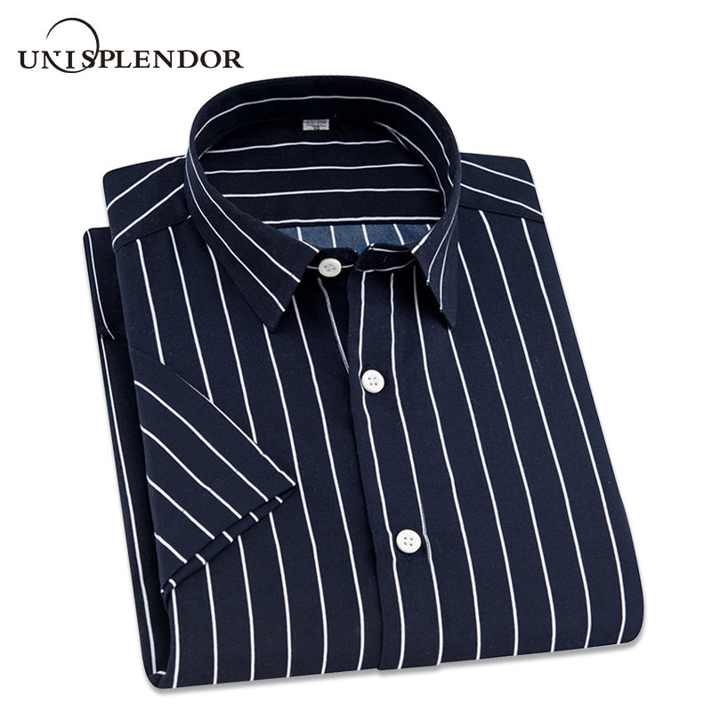2020 Summer Branded Men Casual Shirts New Turn Down Collar Mans Short Sleeve Shirt Striped Soft Breathable Male Outwears YN10277