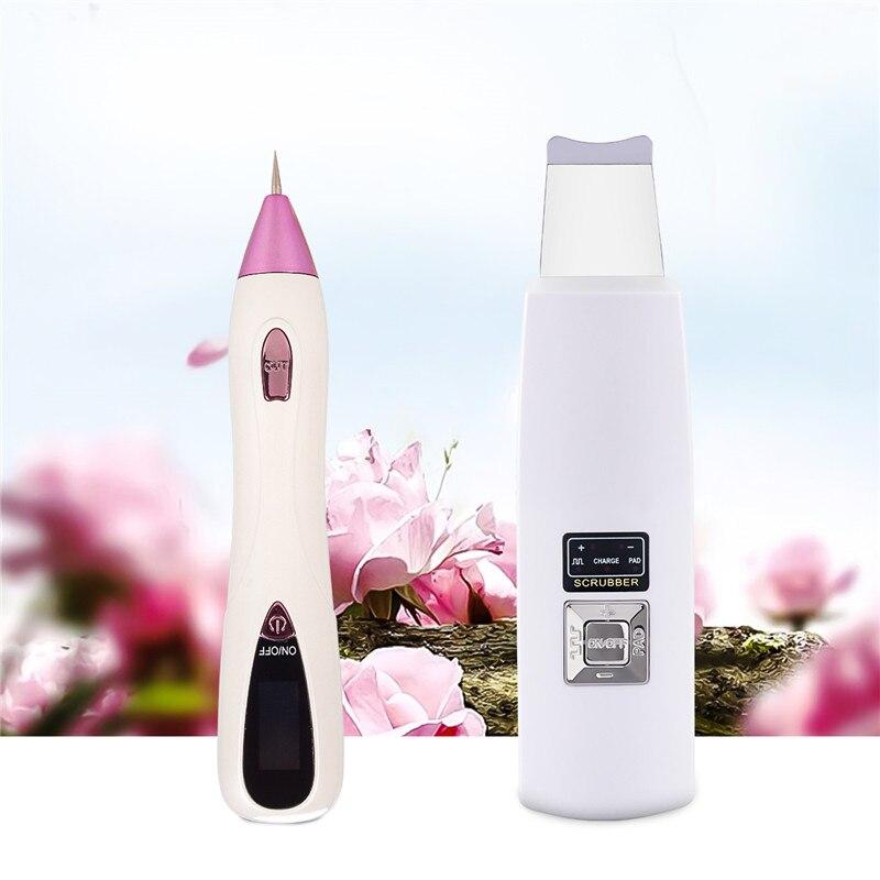 D'ion ultrasonique D'épurateur De Peau Rechargeable Nettoyage En Profondeur Vibration Peeling Facial Masseur + Plasma Mole Tache Foncée LCD Stylo Verrue