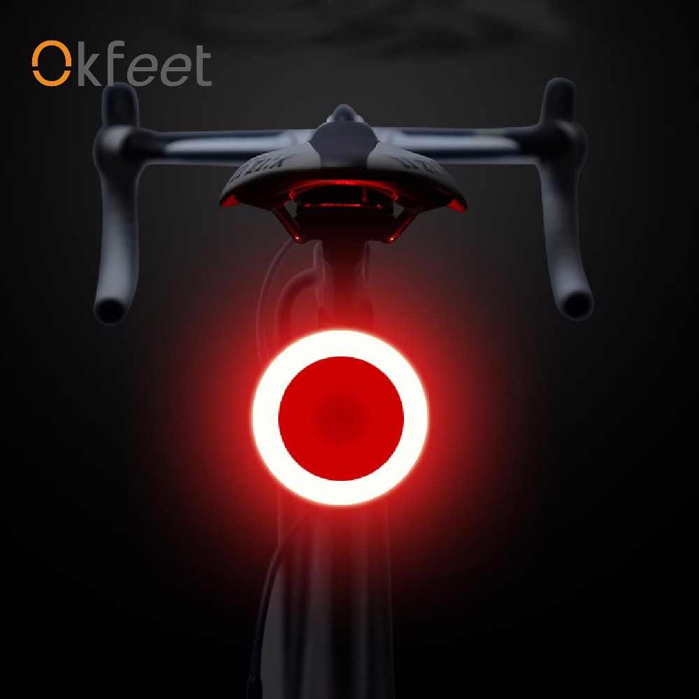 Okfeet маленький умный задний фонарь USB перезаряжаемая литиевая батарея Созвездие велосипедная часть Ebike мерцающий безопасный горный велосипед