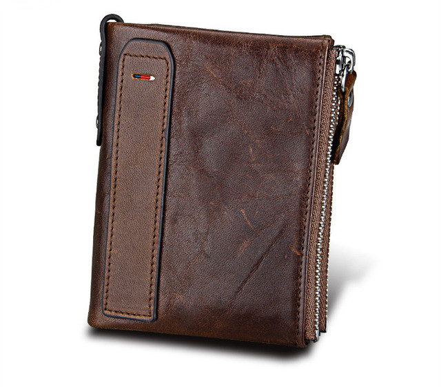 New Arrival Genuine Leather Men Women Wallet Unisex Vintage Short Wallet Card Holder Coin Pocket Purses RFID Small Wallet HB53