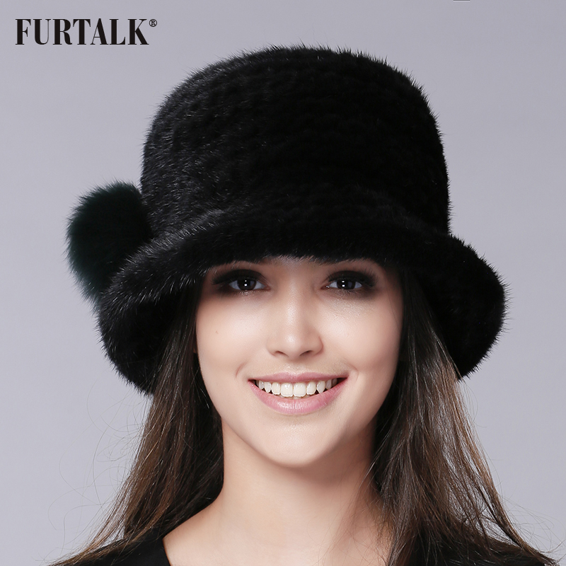 FURTALK Luxury mink fur hat Fedora Bucket hat winter fur hats for women