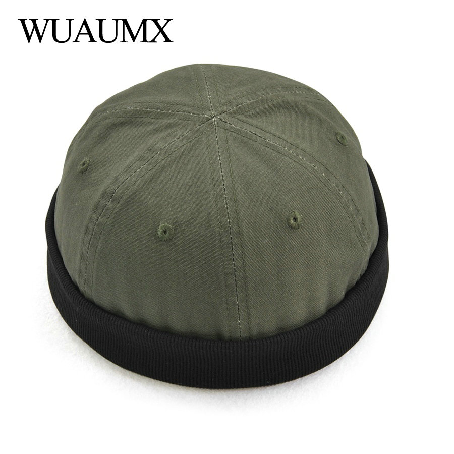 Wuaumx Brand Landlord Hats For Men Women Cotton   Skullies     Beanie   Melon Hat Trend Retro Eaves flange Hip Hop Cap Unisex Wholesale