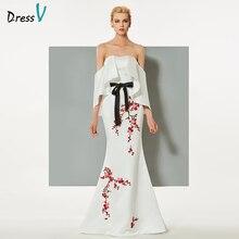 Dressv белое вечернее платье Русалка без бретелек развертки поезд вышивка оборками бисером свадебное вечернее платье