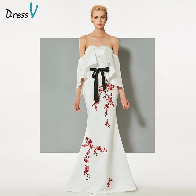 Dressv blanc de soirée robe sirène bretelles balayage train broderie ruches perles de mariage partie formelle robe de soirée robe