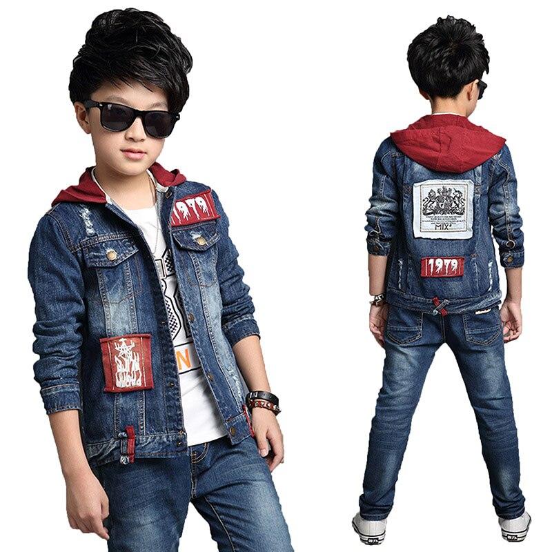 Spring Autumn Children Boy Clothes 2018 Kids Boys Set 2pcs Long Sleeves Denim Jacket+Long Jeans Suits Child Boys Clothes Set Q62 цена и фото