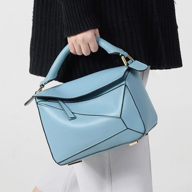 Сумка 2018 новая звезда из воловьей кожи с геометрическим рисунком, комбинированная кожаная сумка, ручная накладная сумка через плечо