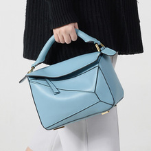 bag 2018 new star with cowhide geometric hitting scene splicing leather handbag hand the bill of lading shoulder bag