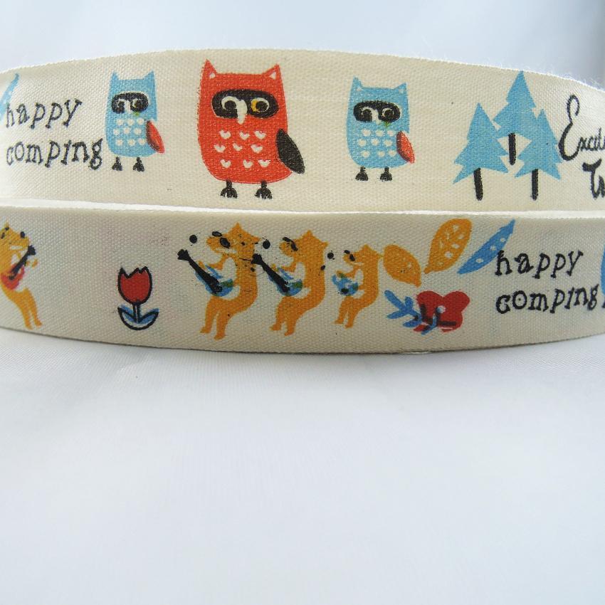 NEW 6/8 20mm Happy Comping Design Cotton Ribbon Owl Printed Ribbon Set DIY Zakka Handmade Tapes Sewing Accessories Ruban X19
