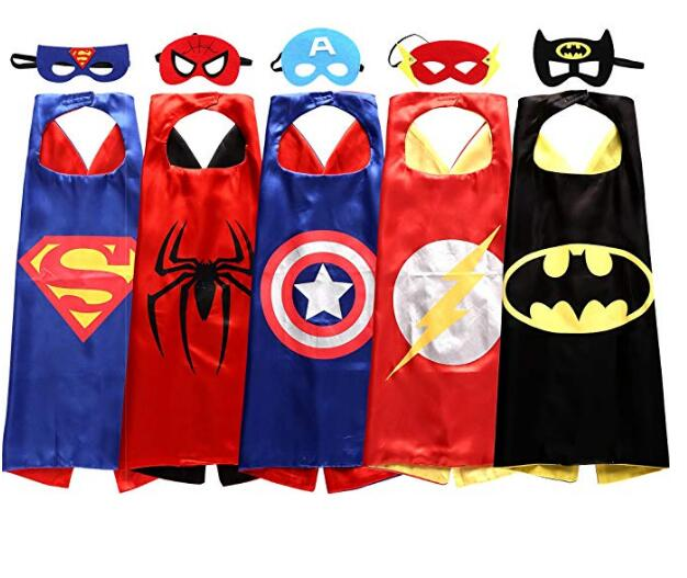 5 sets 6 sets 8 sets 4 Kids Superhero capes and masks-  70*70cm   for kids Children's boy 's birthday party Halloween cosplay