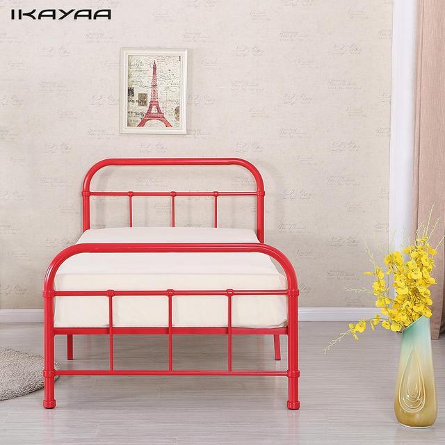 iKayaa UK Stock Metal Bed Frame W/ Wood Slats for Single Sized ...