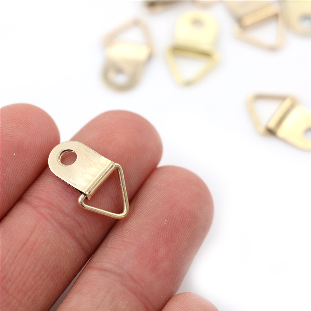 100PCS/Lot Golden Triangle D-Ring Hanging Picture Oil Painting Mirror Frame Hooks Hangers New Arrive