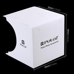 """Image 2 - Puluz 2 led 패널 미니 접는 스튜디오 8 """"확산 소프트 박스 라이트 박스 블랙 화이트 사진 배경 사진 스튜디오 상자"""