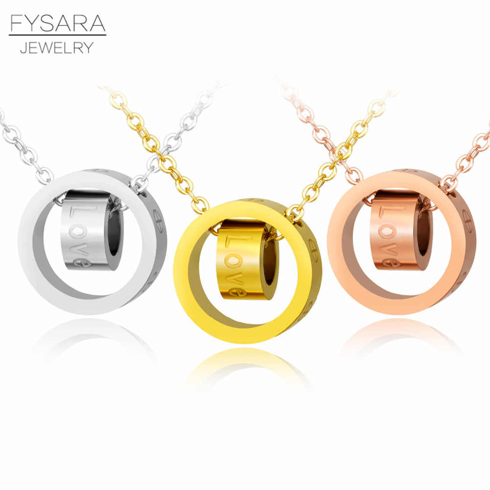 Double Round Circle Necklaces & Pendants LOVE Jewelry Stainless Steel Rose Gold Color Cross Short Necklace Women Chian Necklace