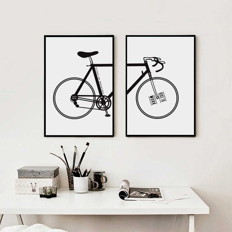 07G Black And White Simple Bike A4 A3 Canvas Art Painting Print Poster Picture Wall Living Room Bedroom Home Decoration Murals