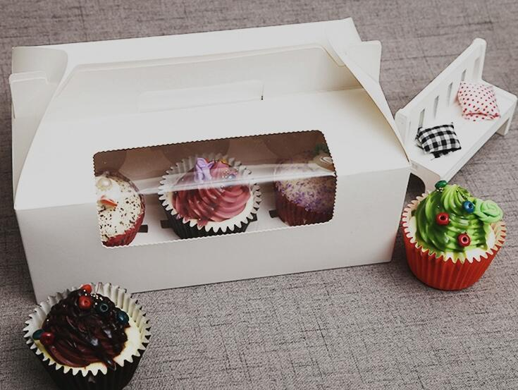 Paper Cupcake Box With Window 6 Holes Cake Muffin Packing Boxes Wedding Birthday Pastry Gift Holder