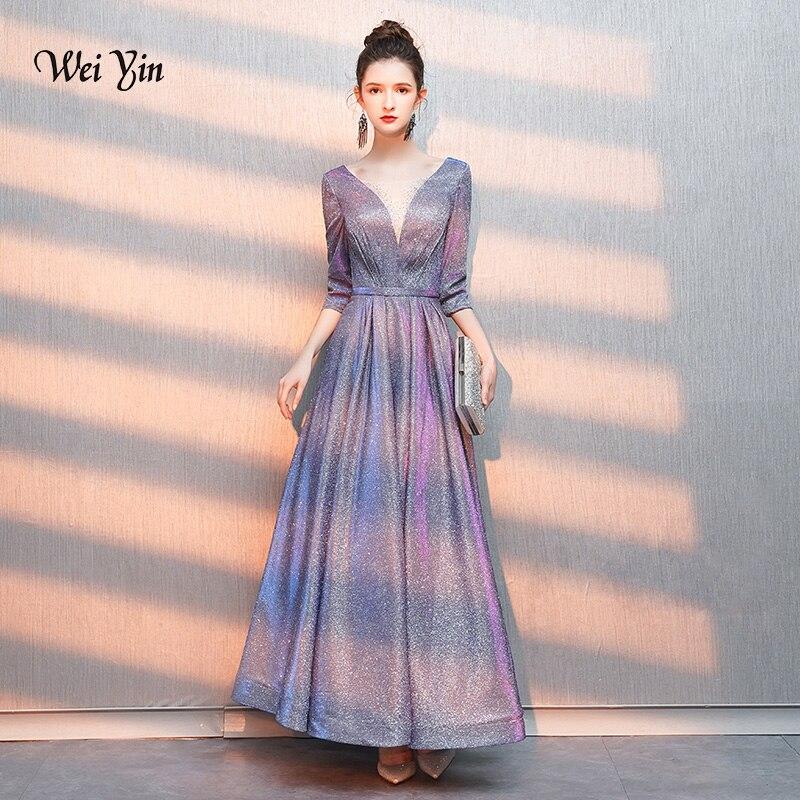 weiyin Luxury Long   Evening     Dresses   2019 A-line Half Sleeves Women Formal Party Gown Prom   Dress   Robe de Soiree WY1281