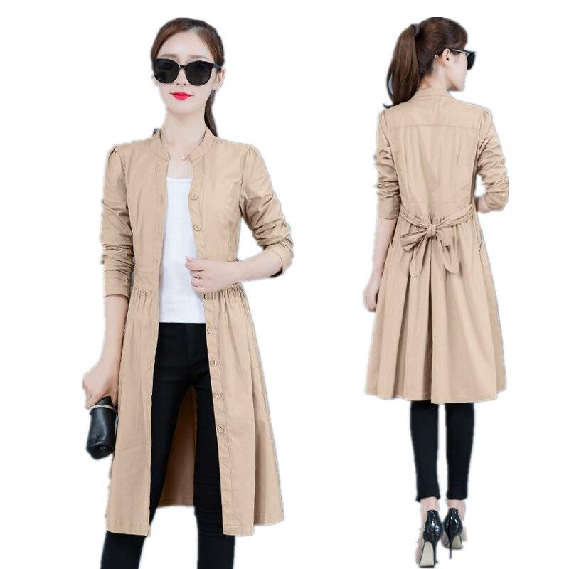 Spring   Trench   Coat For Women Elegant Long   Trench   Coat Slim Plus Size Windbreaker Long Sleeve Khaki   Trench   Coat/Ladies Tops Q1222