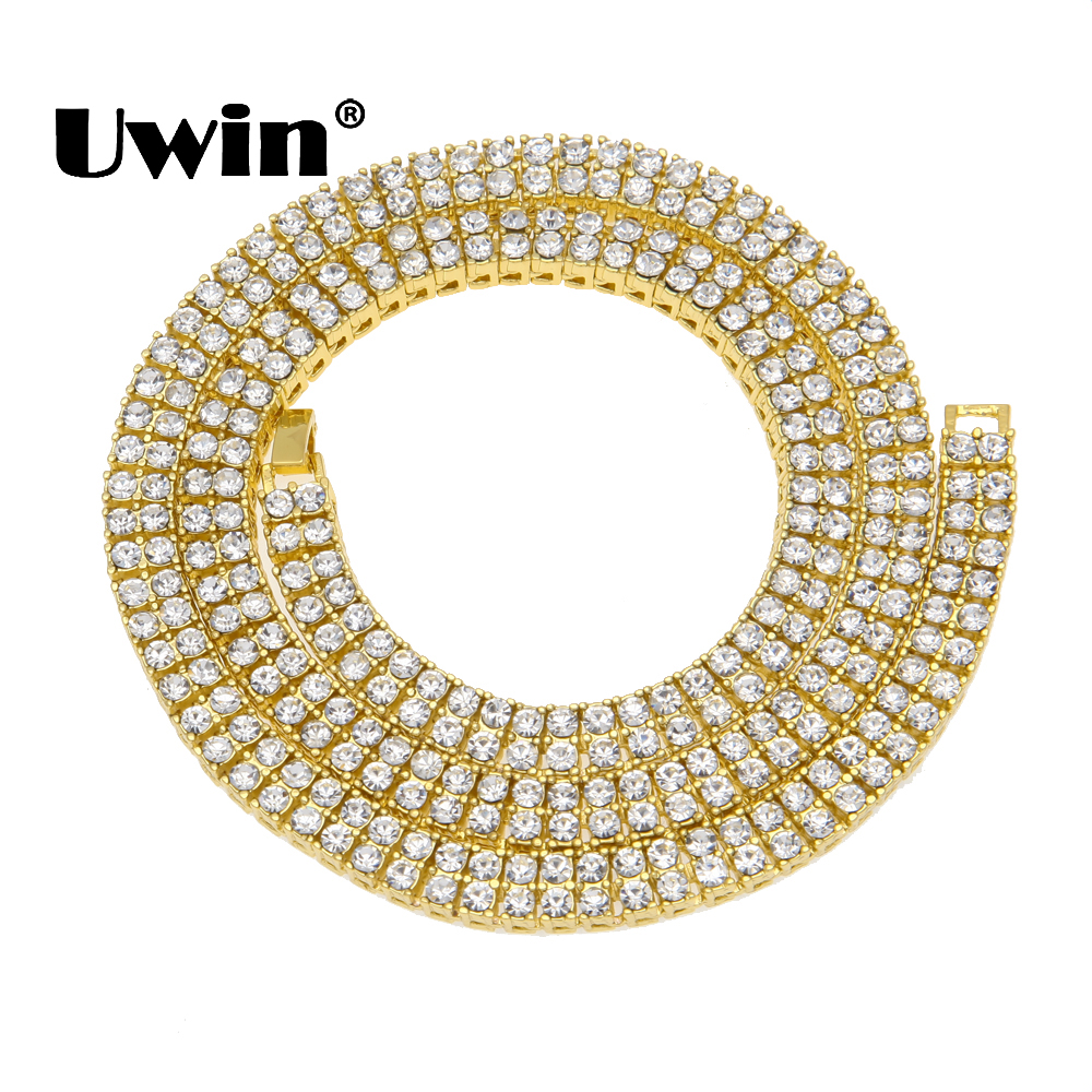 Uwin Hip Hop Crystal Rhinestones Bling Bling Cuban Necklace Men 9mm 2 Row Tennis Chain Gold Silver Black 3 Length Size Jewelry