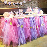 IDing 2017 Hot Sale Tutu Organza Table Cloth For Wedding Birthday Party Fashion Elegant Solid Color